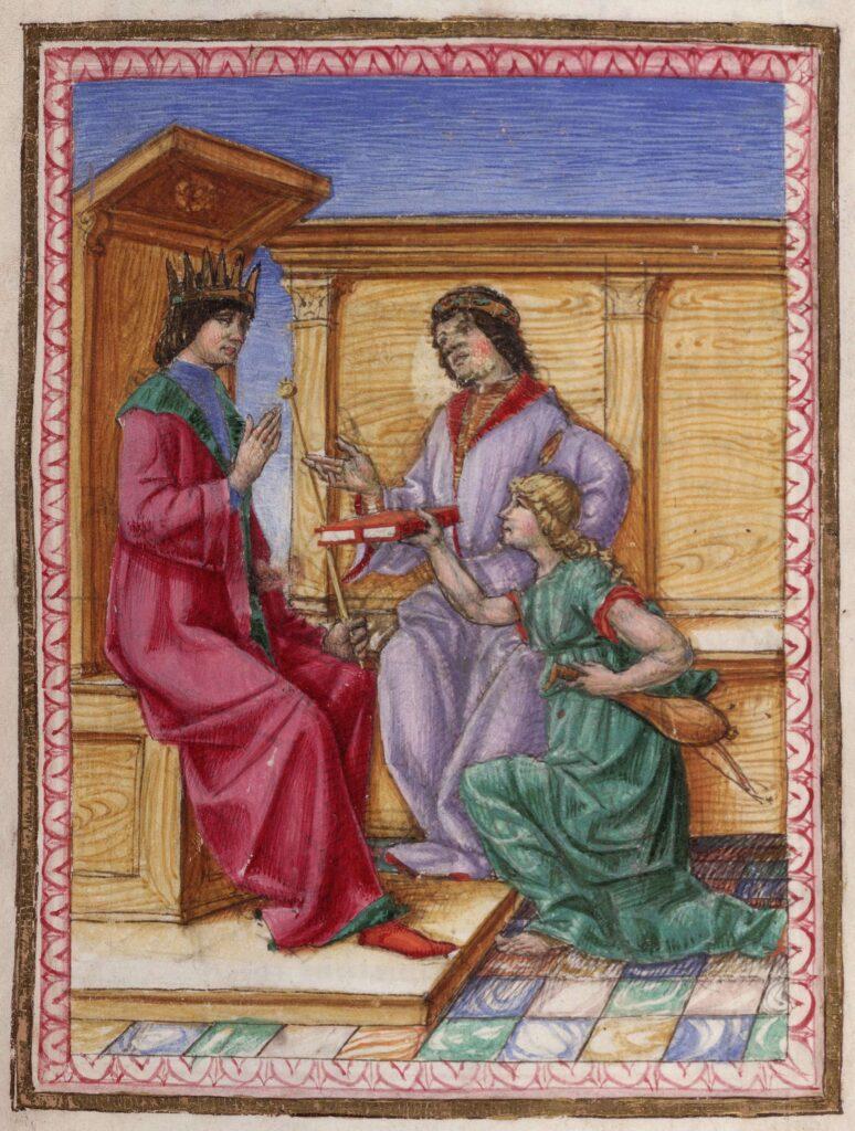 Muza lui Lodovico Lazzarelli prezintă manuscrisul Fasti christianae religionis Regelui Ferrante. Artist necunoscut, sfârșit de secol XV. Sursa: Beinecke Digital Library via Wikipedia